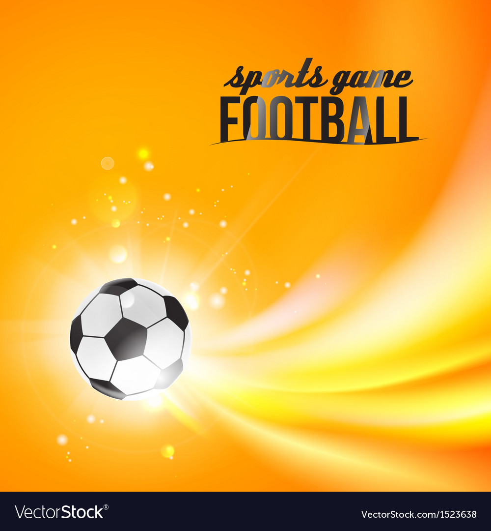 Shining soccer-ball on an orange background vector | Price: 1 Credit (USD $1)