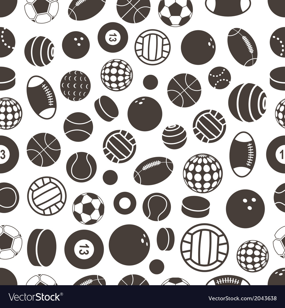 Sport ball silhouettes seamless pattern vector | Price: 1 Credit (USD $1)