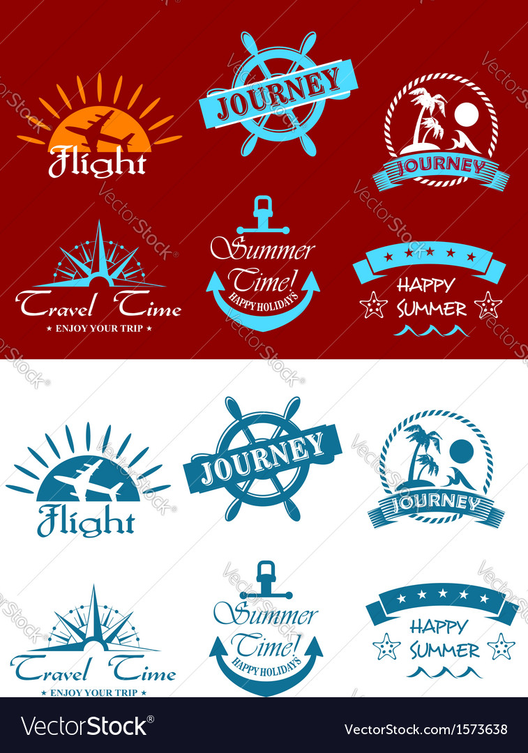 Travel and tourism symbols vector | Price: 1 Credit (USD $1)