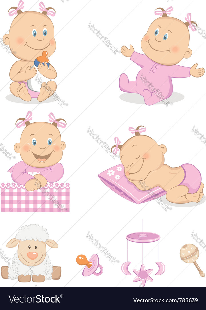 Baby girl with toys vector | Price:  Credit (USD $)