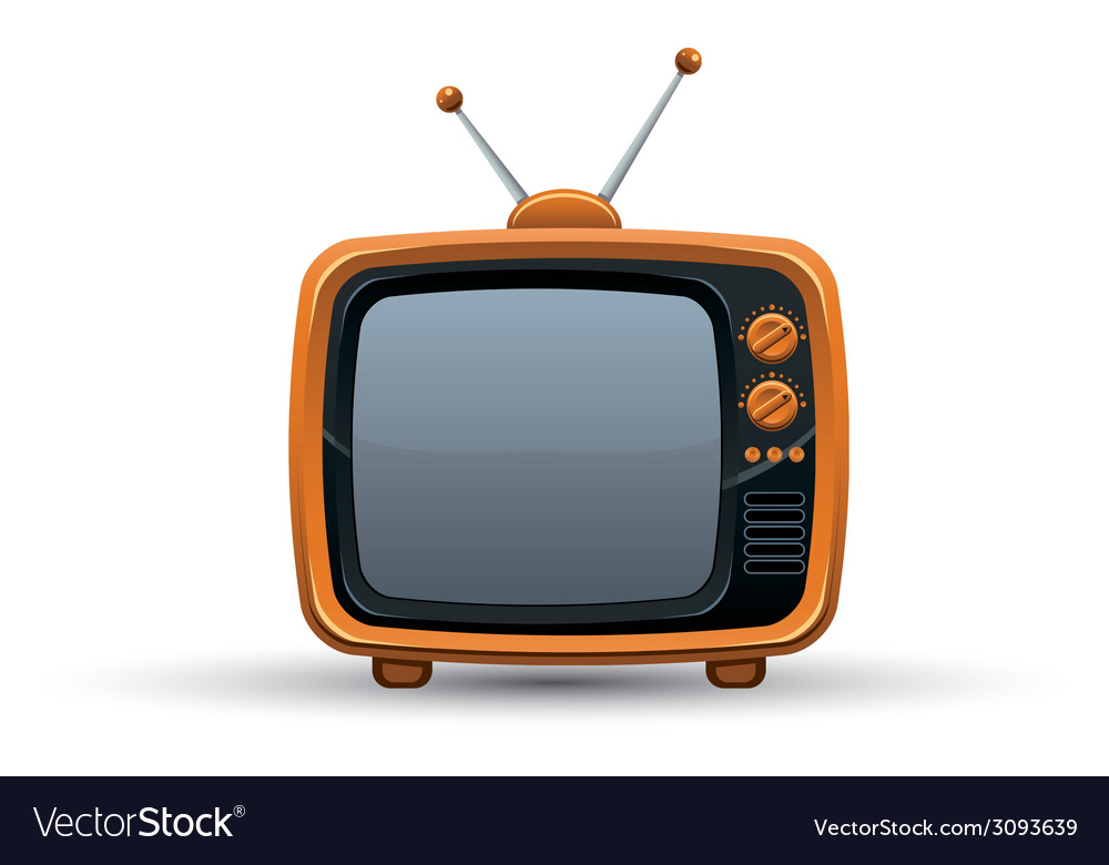 Bright orange retro tv set vector | Price: 1 Credit (USD $1)