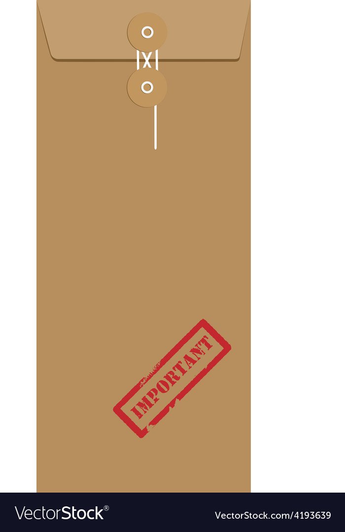 Brown long envelope with stamp important vector | Price: 1 Credit (USD $1)