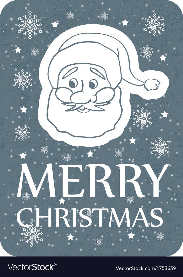Christmas card with santa grey vector | Price: 1 Credit (USD $1)