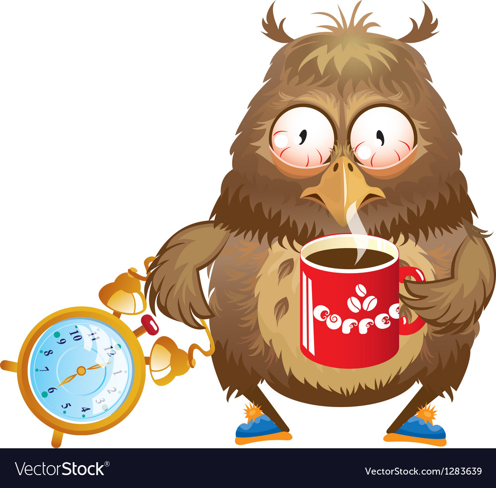 Early morning time - funny owl with cup of coffee vector | Price: 3 Credit (USD $3)