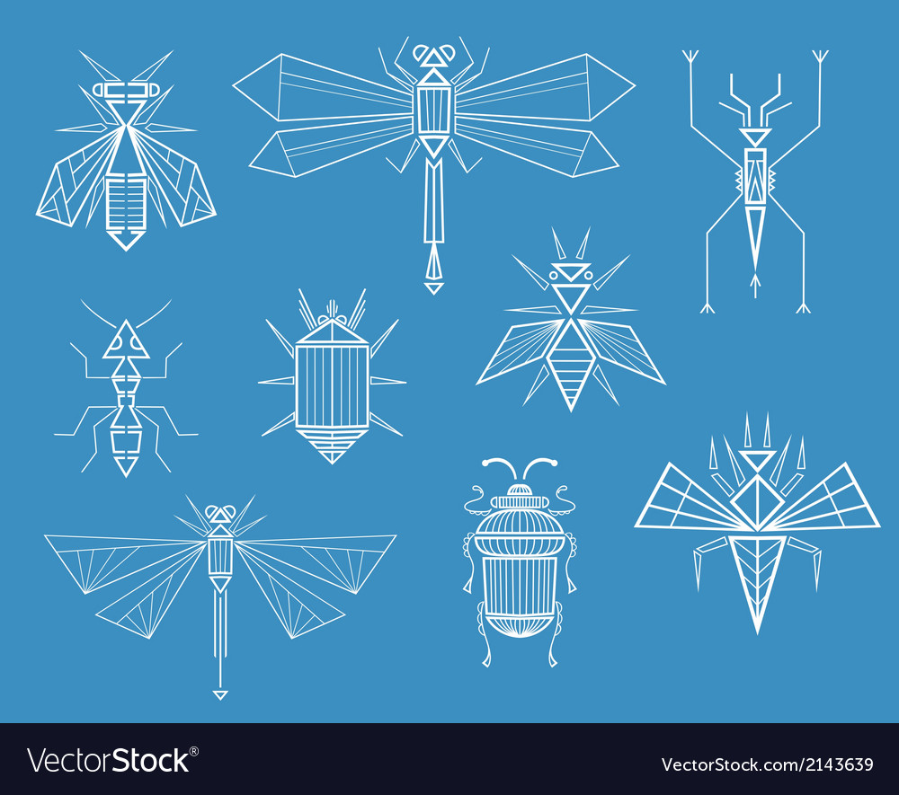 Geometric insects vector | Price: 1 Credit (USD $1)