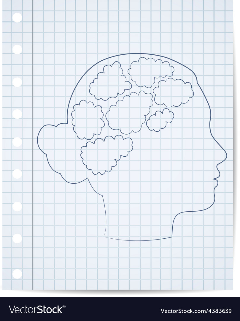 Girl head with thought template vector   Price: 1 Credit (USD $1)