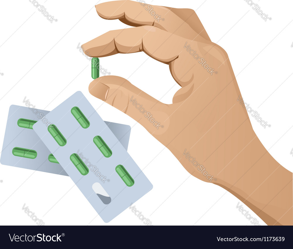 Hand with pill version 2 vector | Price: 3 Credit (USD $3)