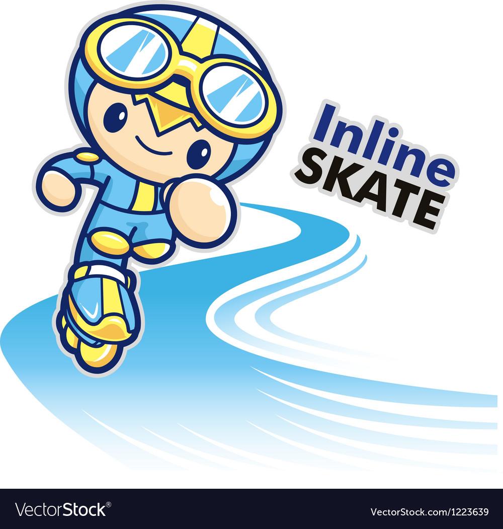Inline skating boy mascot vector | Price: 3 Credit (USD $3)