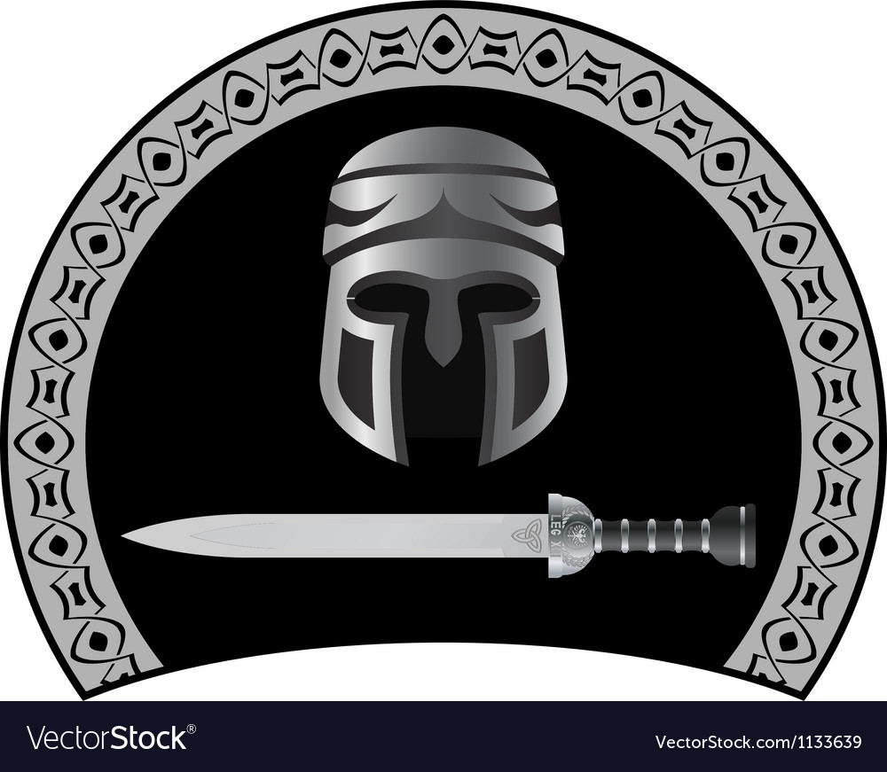 Medieval helmet with sword second variant vector | Price: 1 Credit (USD $1)