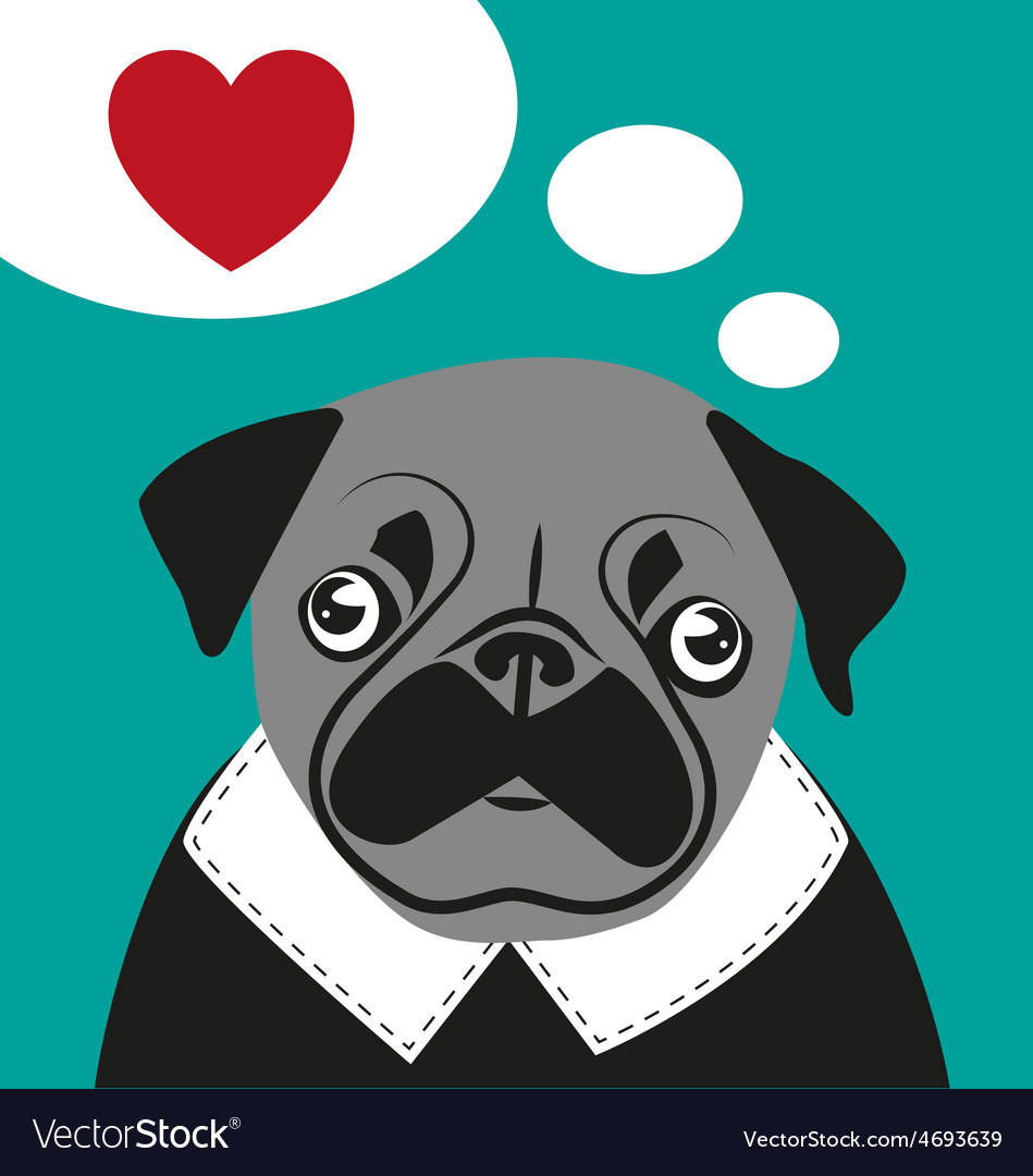 Pug love card hipster funny valentines birthday vector | Price: 1 Credit (USD $1)