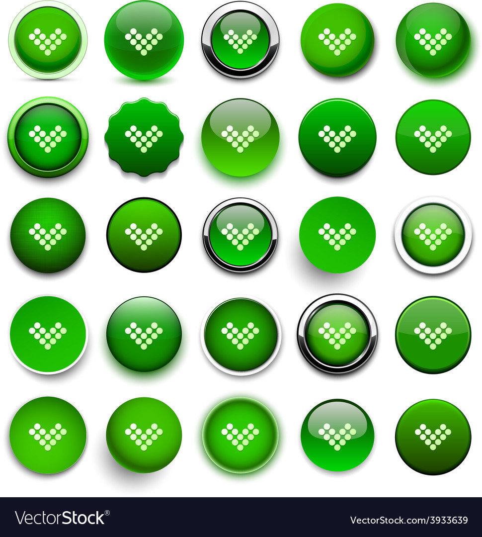 Round green download icons vector | Price: 1 Credit (USD $1)