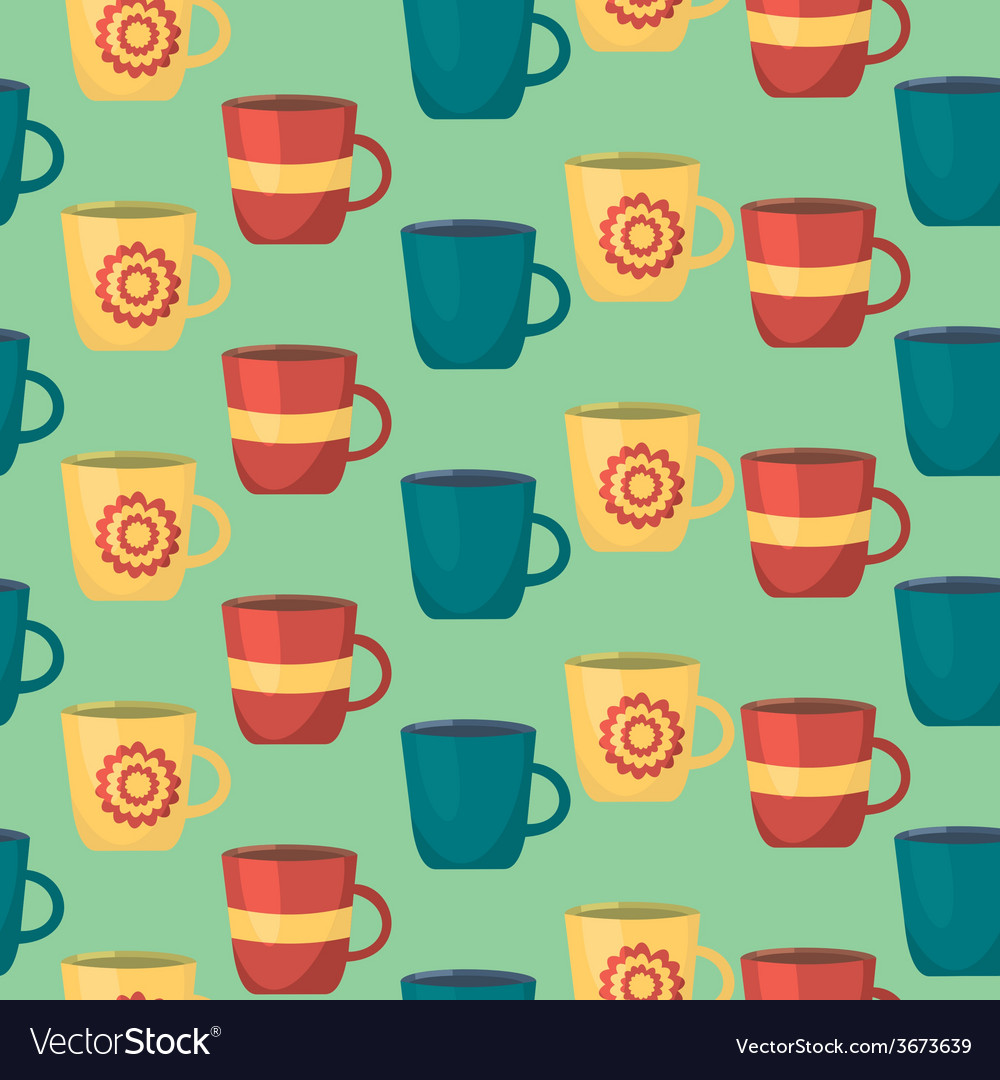 Seamless pattern with cups teatime background for vector | Price: 1 Credit (USD $1)