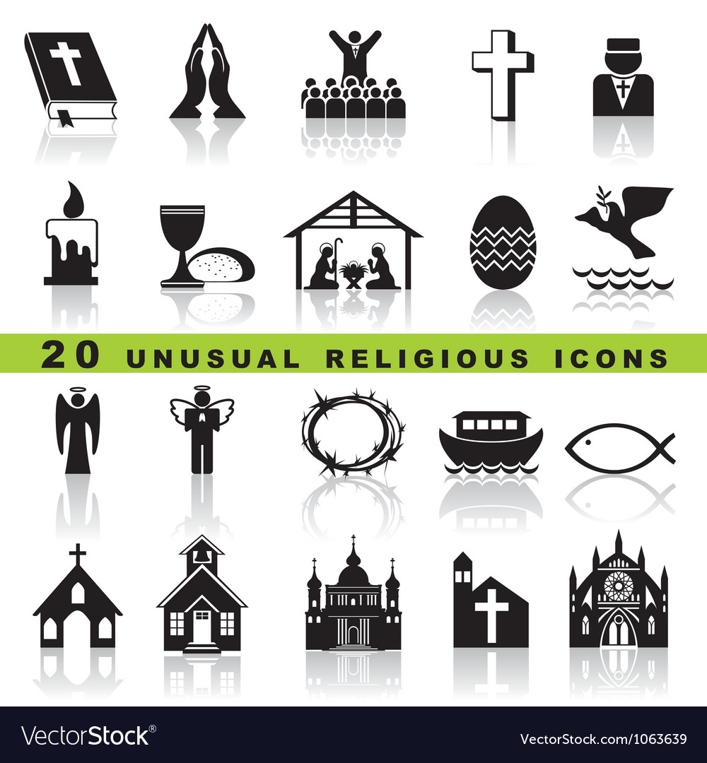 Set christian icons vector