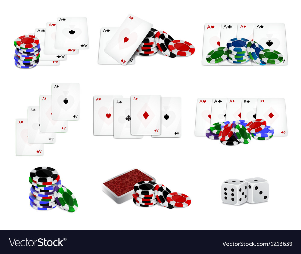 Set of casino chips and cards vector | Price: 1 Credit (USD $1)