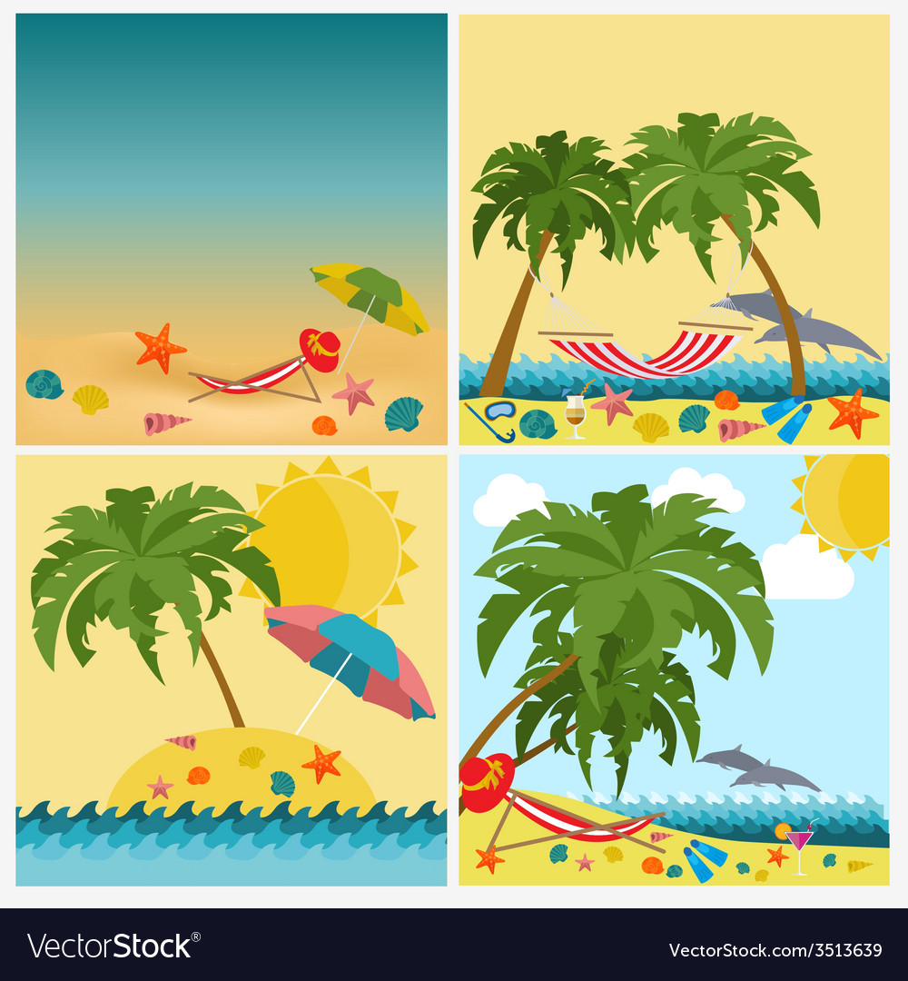 Travel vacations beach resort set icons elements vector | Price: 1 Credit (USD $1)