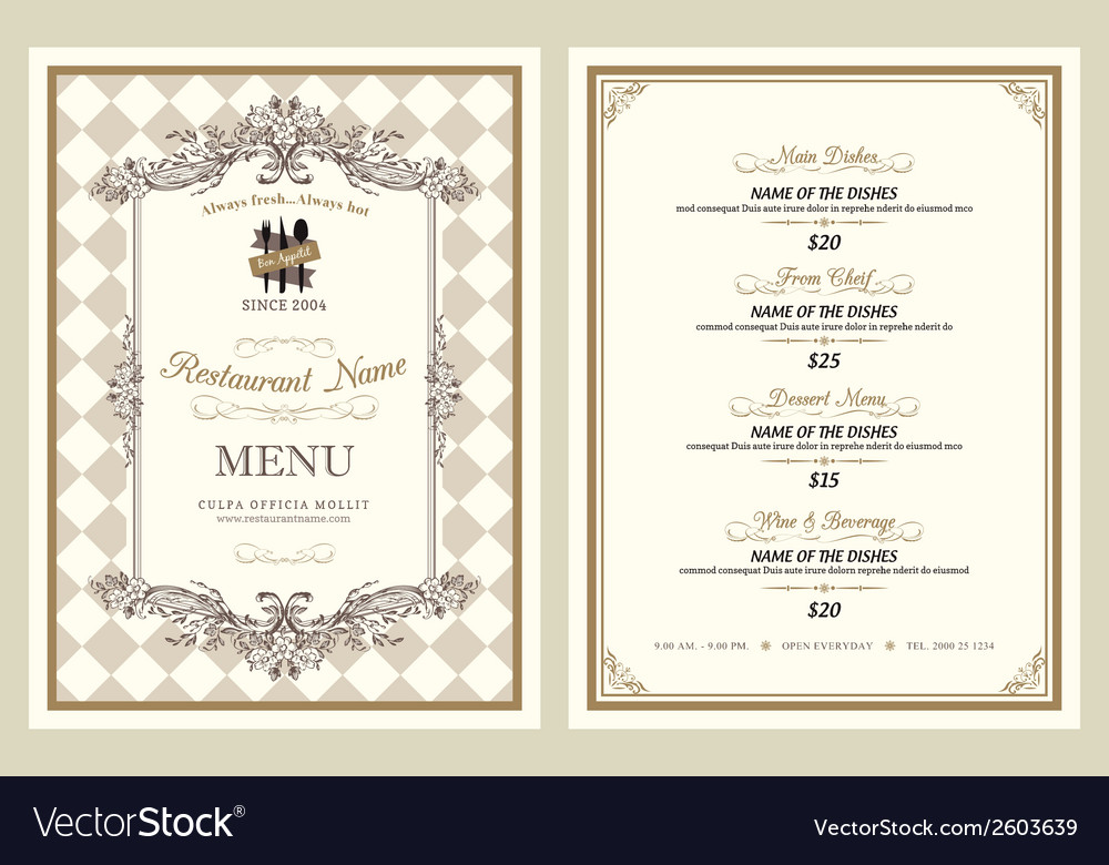 Vintage style restaurant menu design vector | Price: 1 Credit (USD $1)