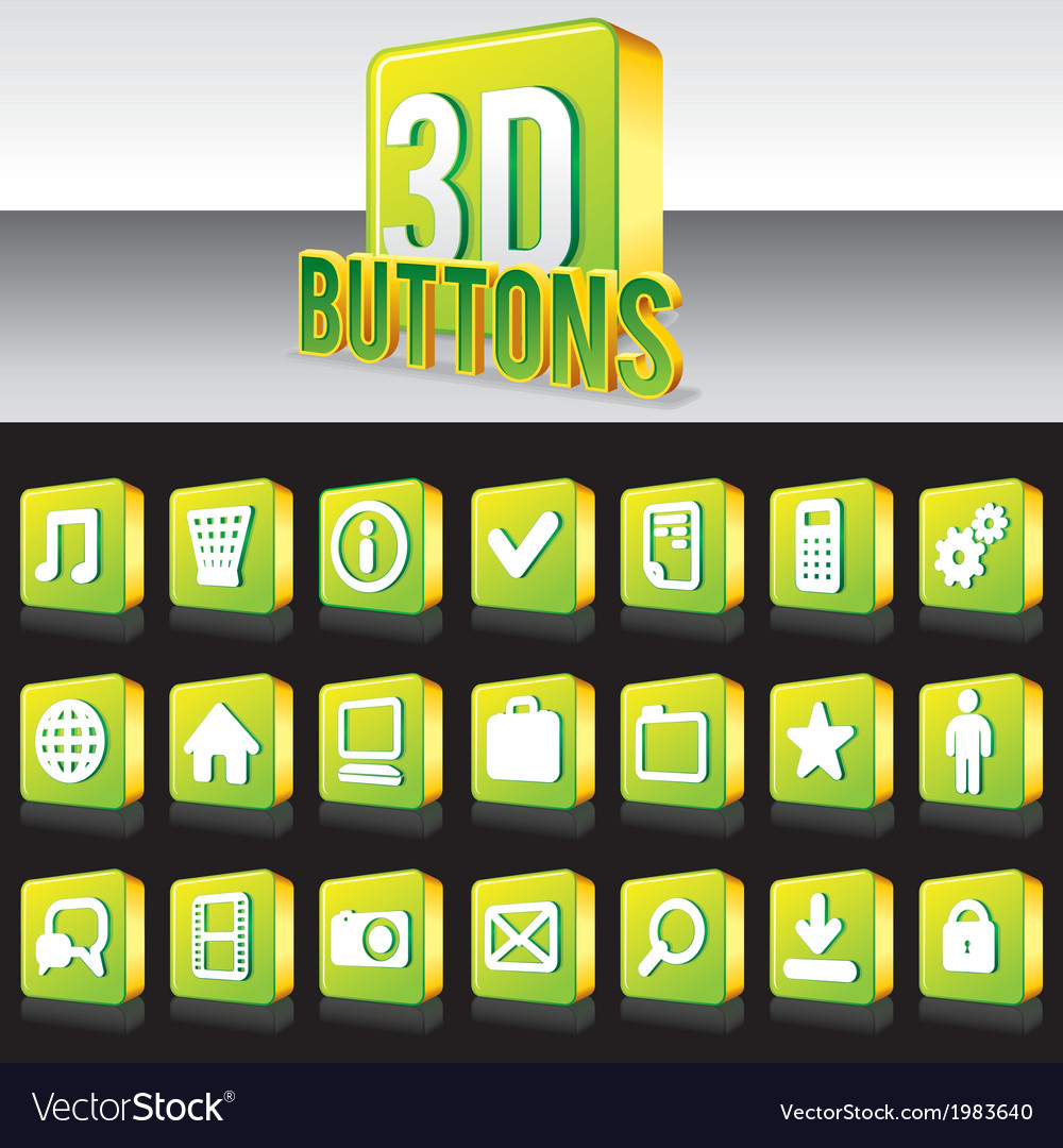 3d shiny green buttons for website or apps vector | Price: 1 Credit (USD $1)