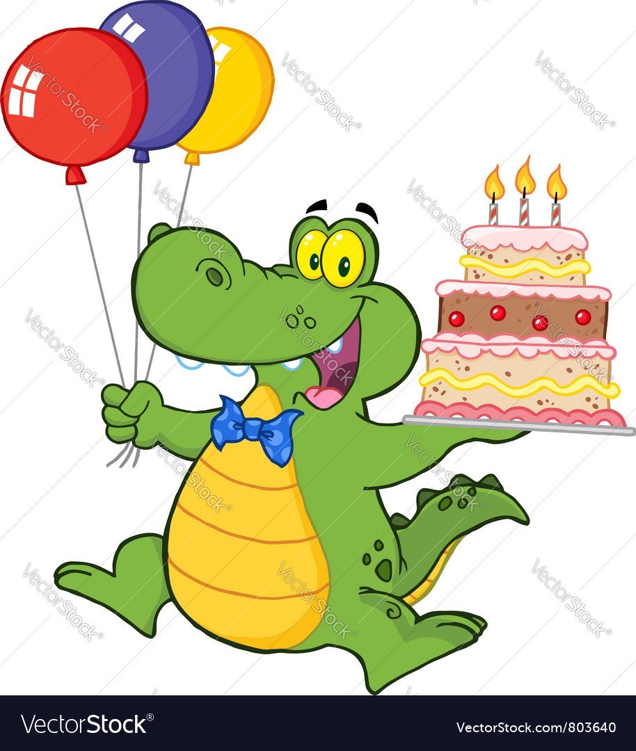 Birthday alligator with balloons and cake vector | Price: 1 Credit (USD $1)