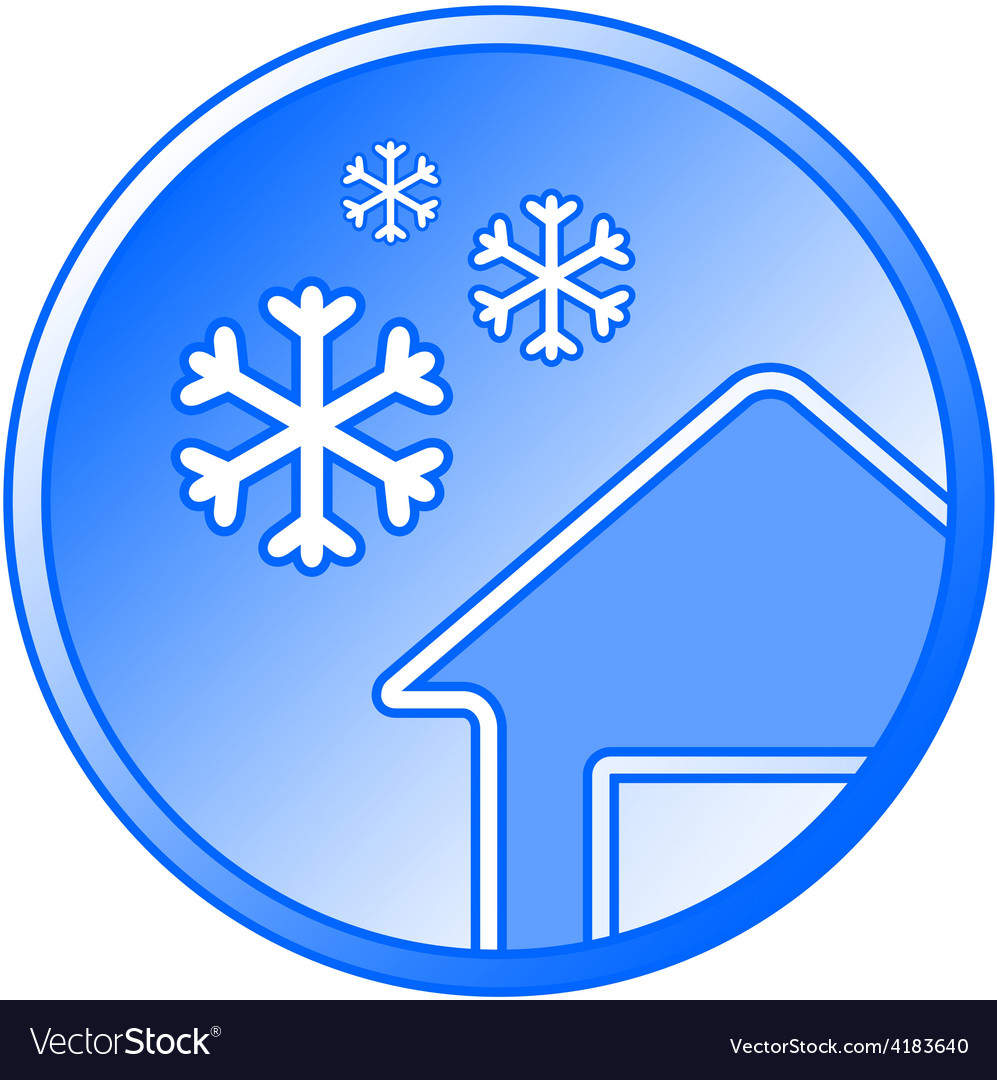Blue winter icon with snow and house vector | Price: 1 Credit (USD $1)
