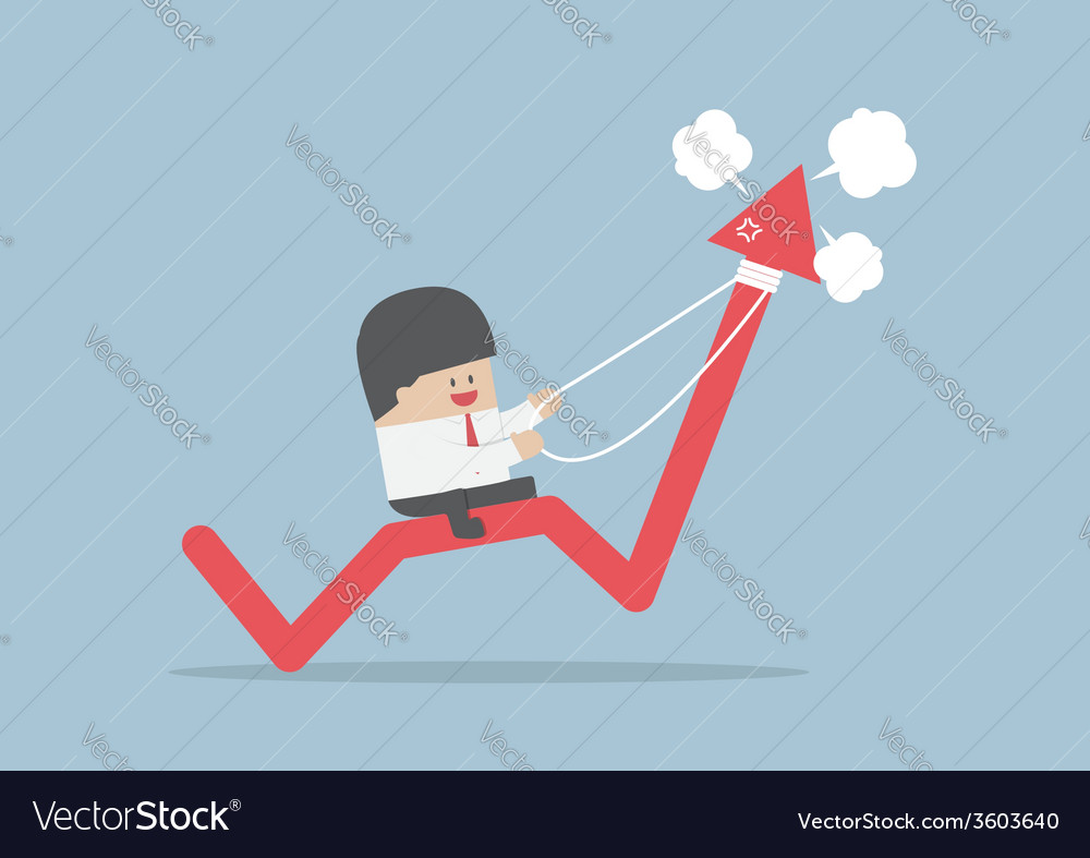 Businessman riding on angry stock market graph vector | Price: 1 Credit (USD $1)