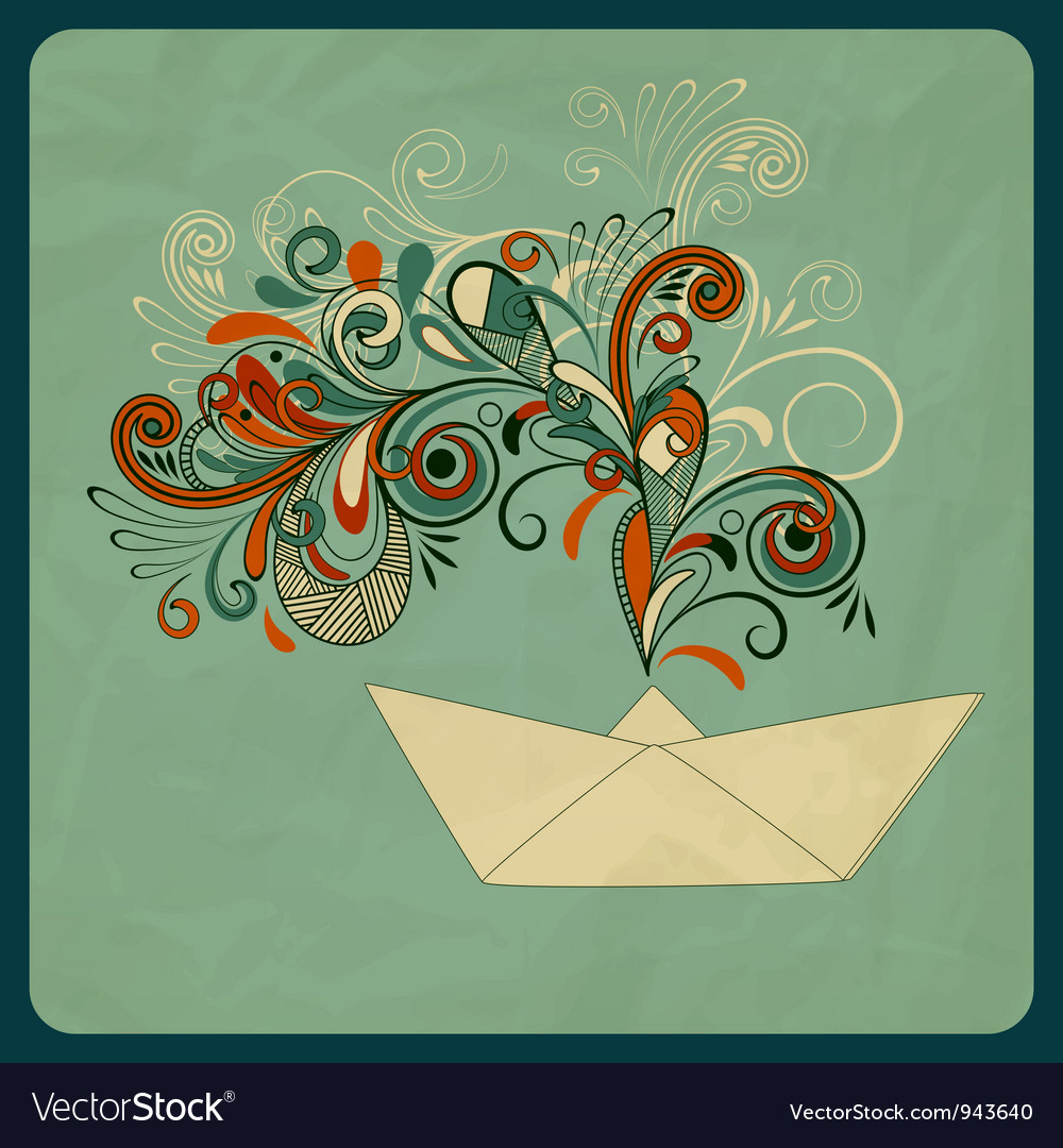 Eco concept with a ship and floral pattern vector | Price: 1 Credit (USD $1)
