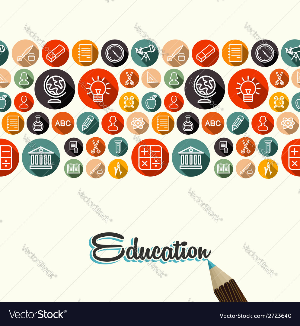 Education flat icons seamless pattern background vector | Price: 1 Credit (USD $1)