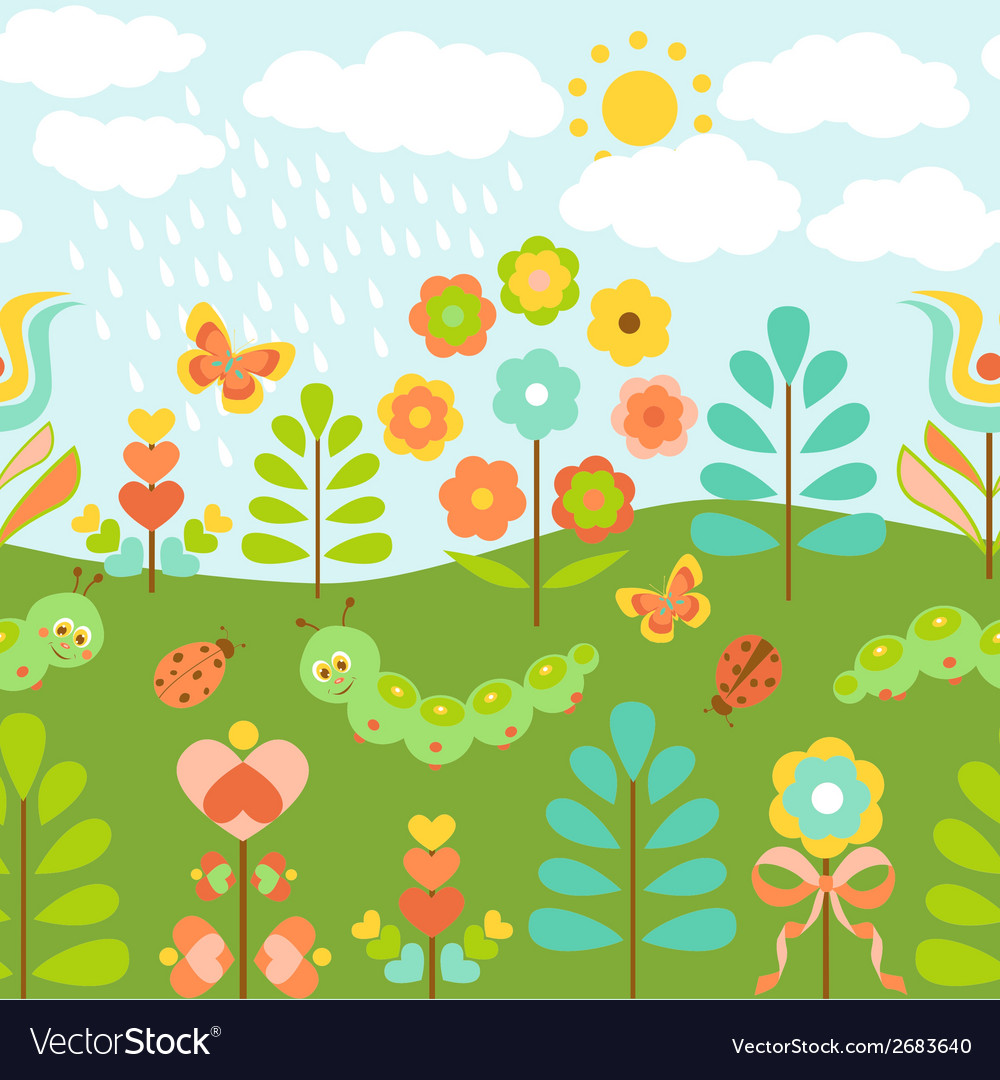Floral background with cute ladybirds vector | Price: 1 Credit (USD $1)