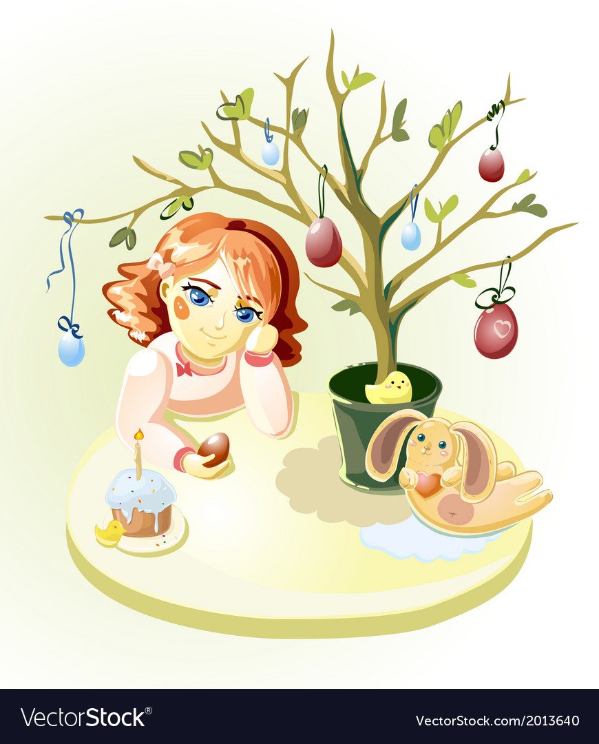 Girl under easter tree vector | Price: 1 Credit (USD $1)