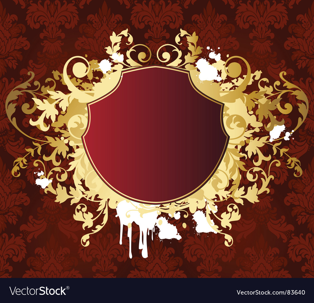 Gold retro shield vector | Price: 1 Credit (USD $1)
