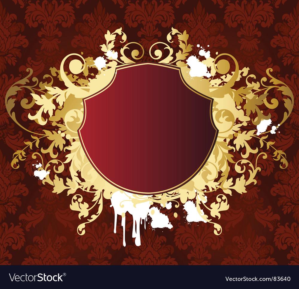 Gold retro shield vector | Price: 1 Credit (USD $1)
