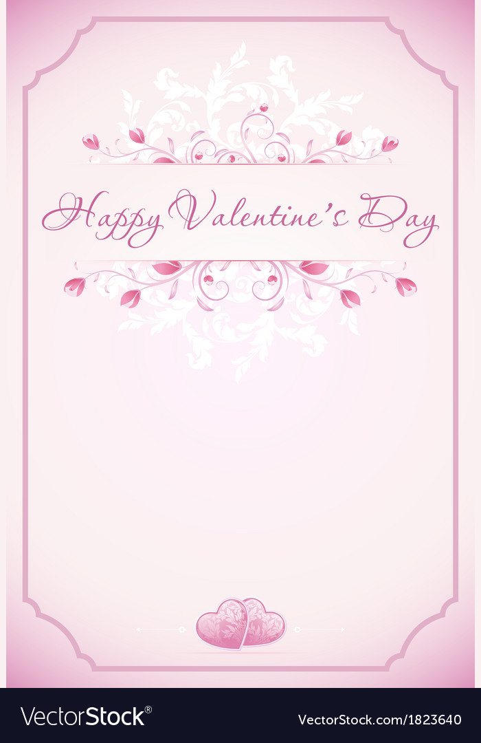Happy valentines day card with ornament hearts f vector | Price: 1 Credit (USD $1)
