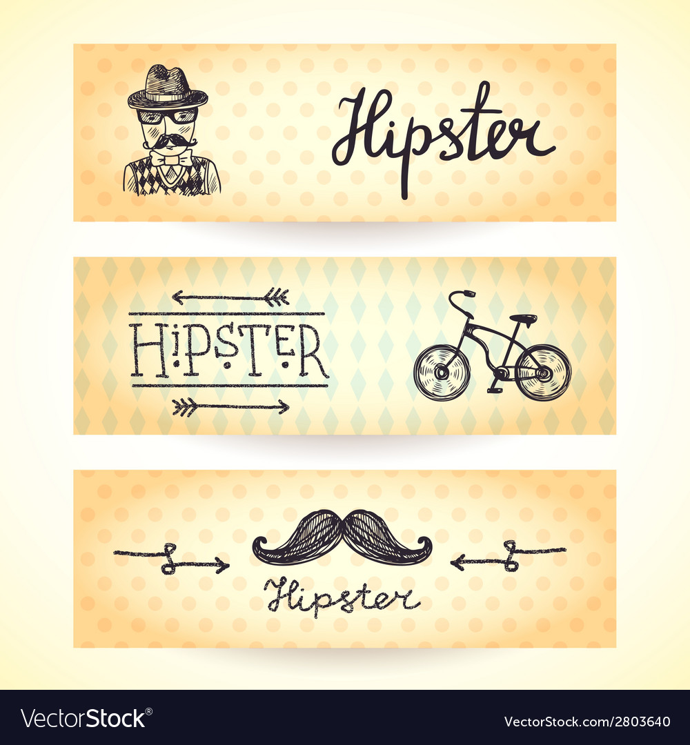 Hipster banners set vector | Price: 1 Credit (USD $1)