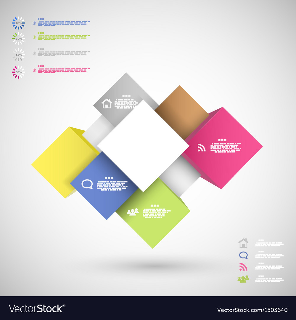 Infographic colorful cubes for data presentation vector | Price: 1 Credit (USD $1)