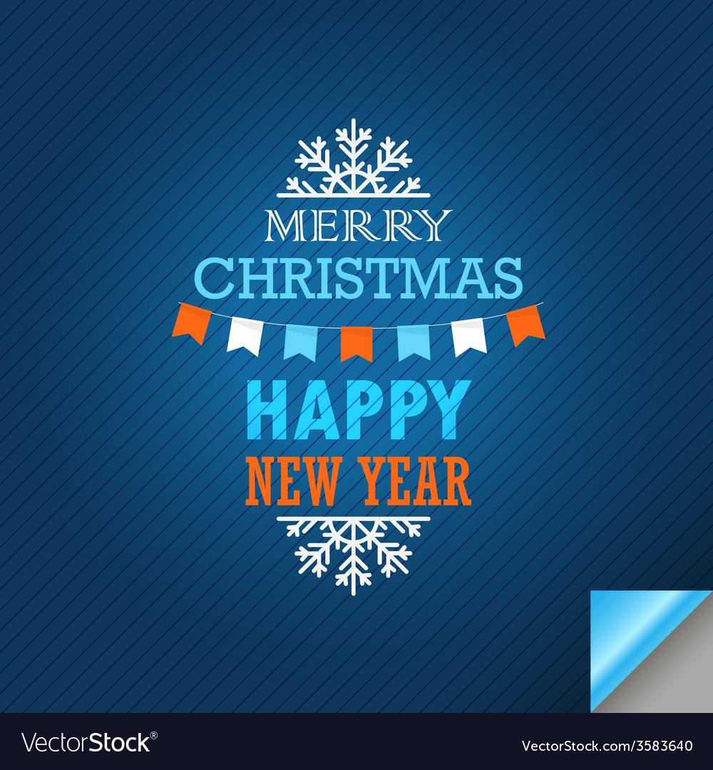 Merry christmas and a happy new year greeting card vector   Price: 1 Credit (USD $1)