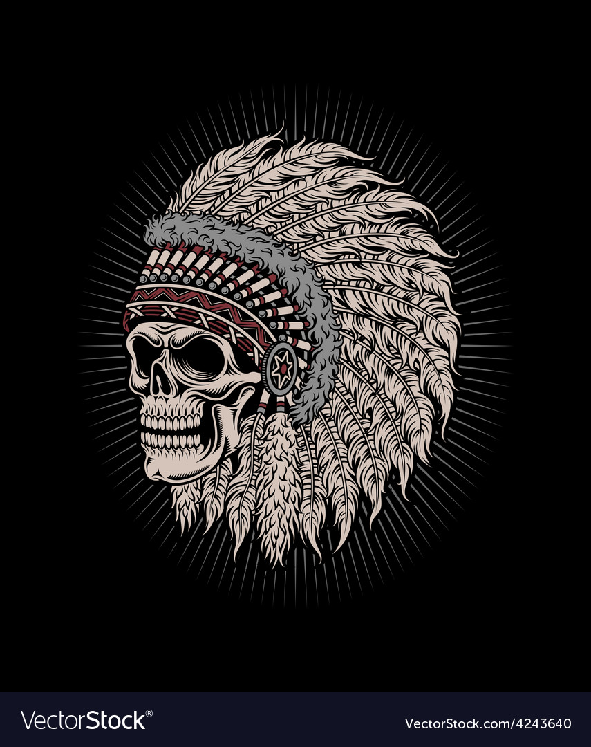 Native american indian chief skull vector | Price: 3 Credit (USD $3)