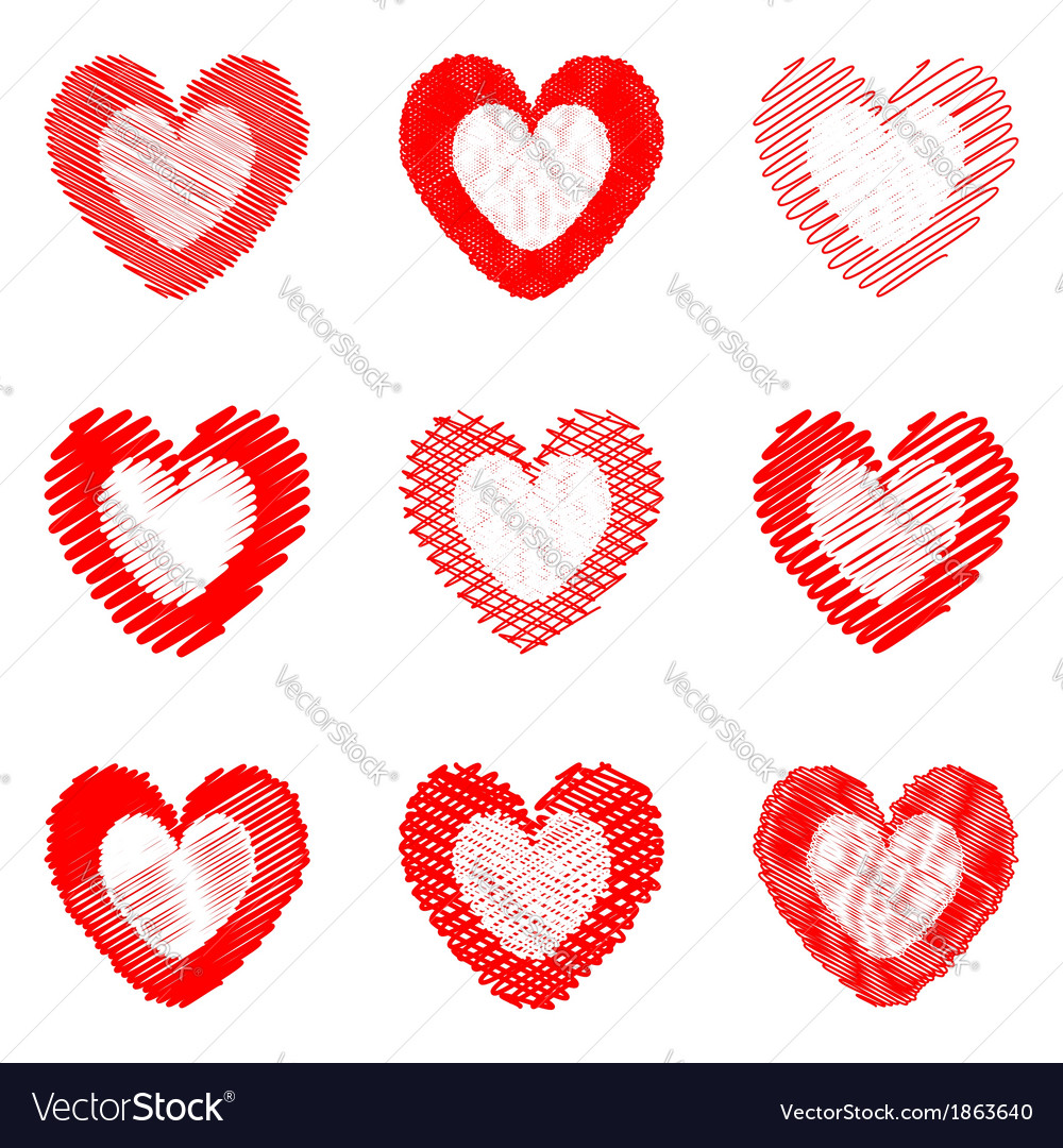 Set of design doodle drawn heart icons vector | Price: 1 Credit (USD $1)