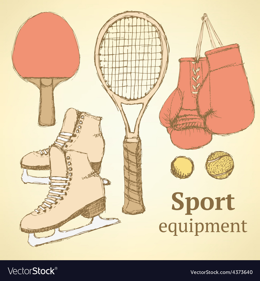 Sketch sport equipment in vintage style vector | Price: 1 Credit (USD $1)