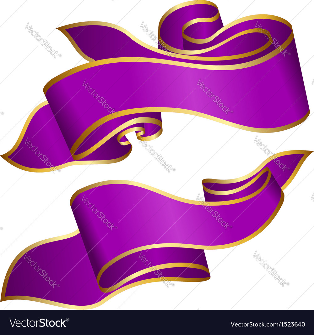 Violet ribbon collection isolated on white backgro vector | Price: 1 Credit (USD $1)