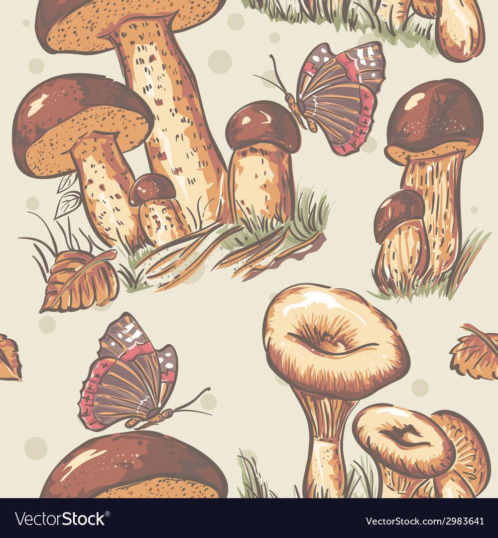 Autumn seamless texture of white mushrooms saffron vector | Price: 1 Credit (USD $1)