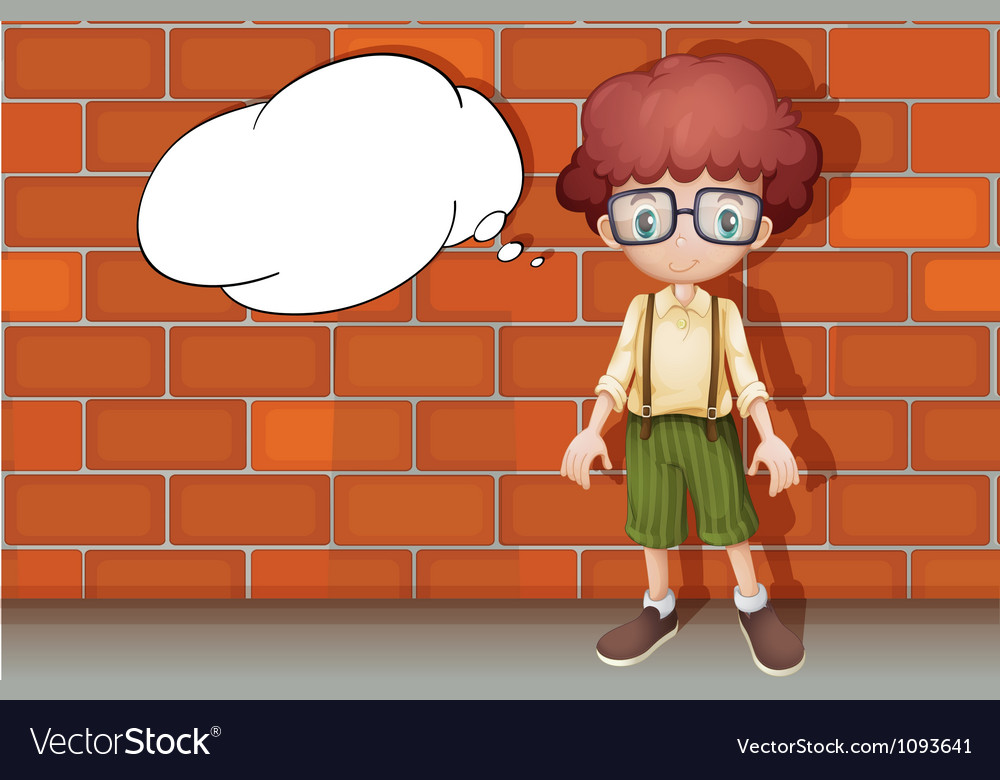 Boy against wall vector | Price: 1 Credit (USD $1)