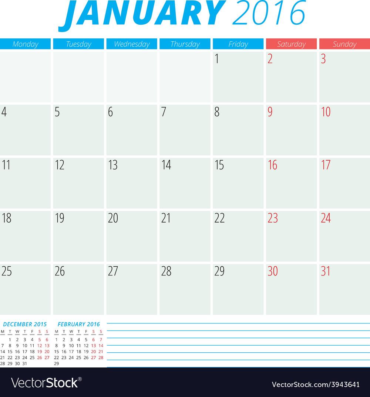 Calendar 2016 flat design template january week vector | Price: 1 Credit (USD $1)