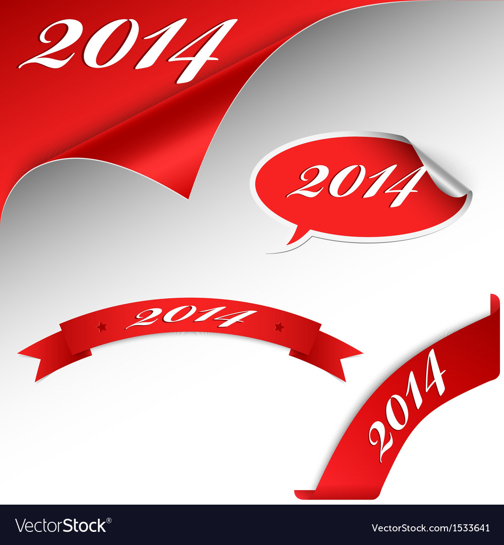 Christmas new year red card 2014 vector | Price: 1 Credit (USD $1)