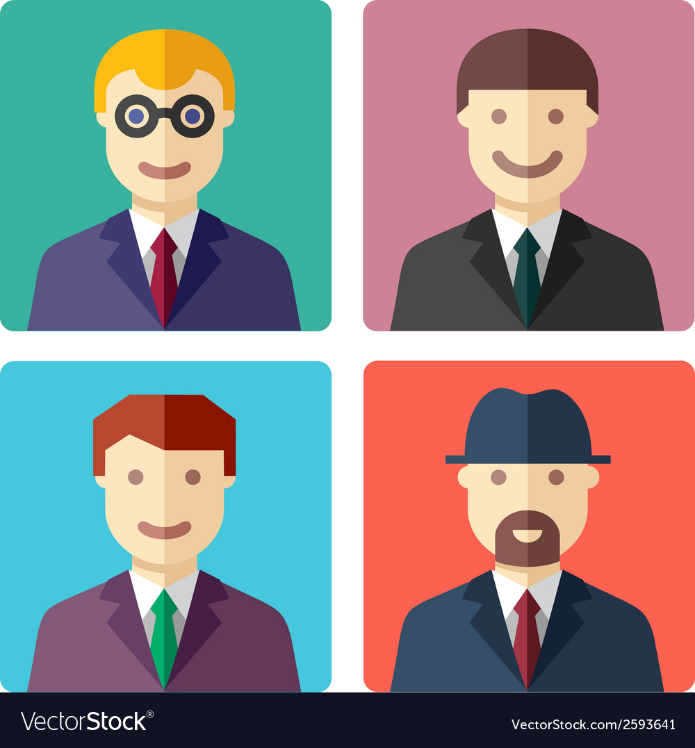Flat colorful businessman avatar icons vector | Price: 1 Credit (USD $1)