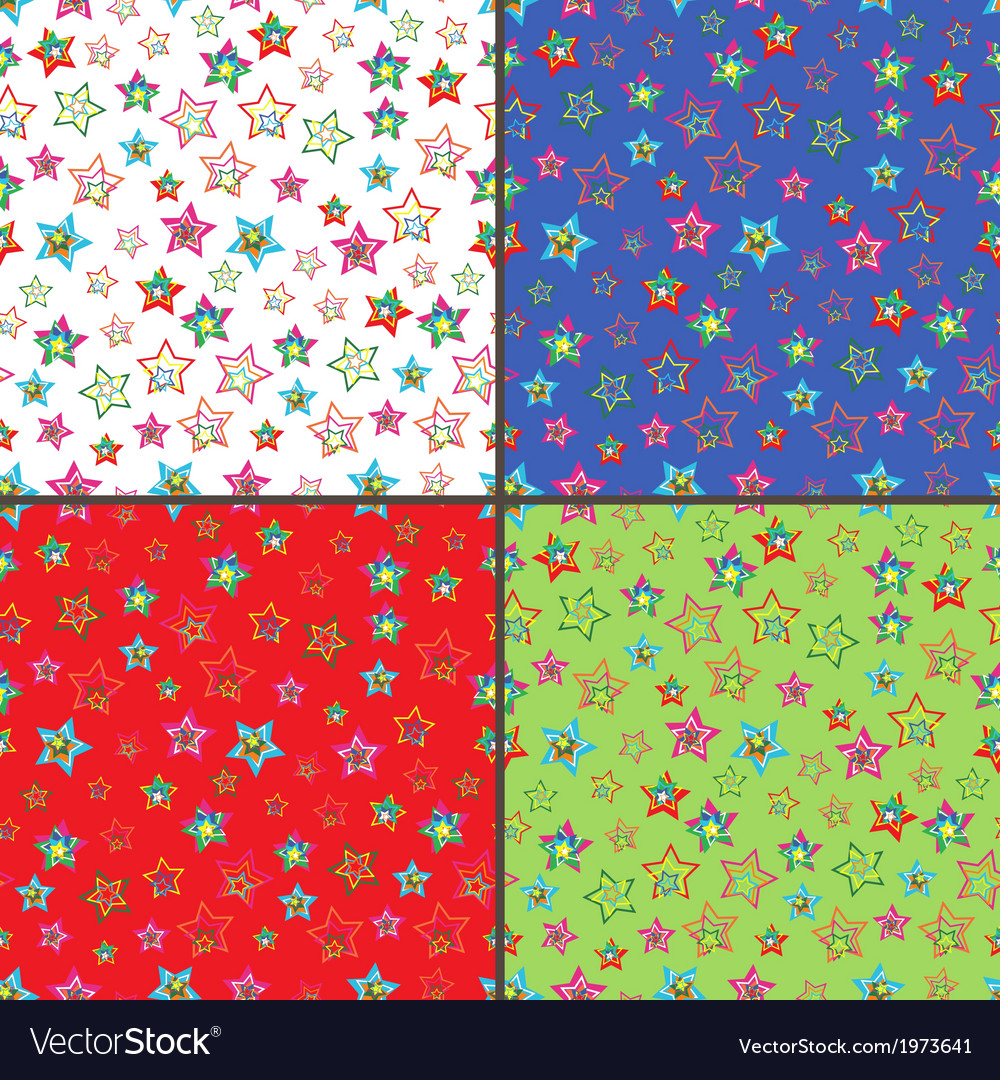 Four seamless patterns with colorful stars vector | Price: 1 Credit (USD $1)