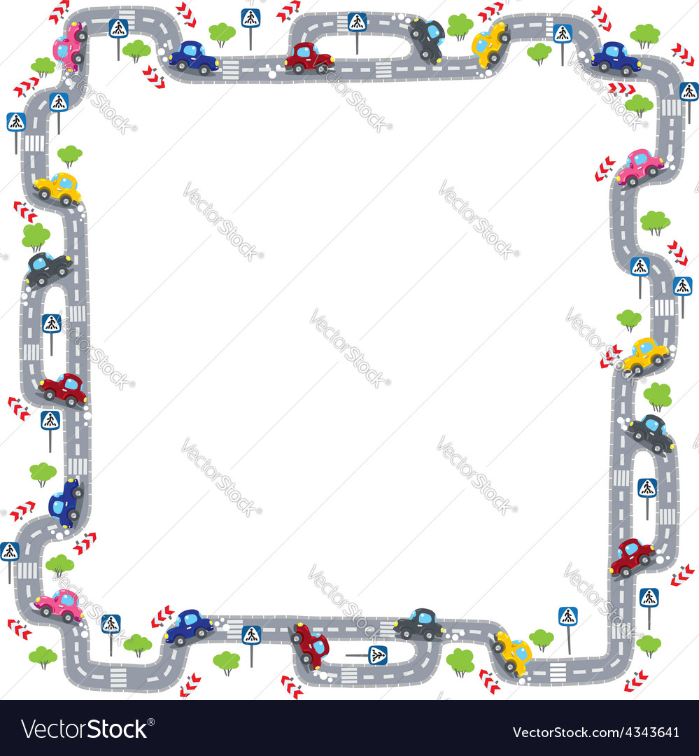 Frame with road vector | Price: 1 Credit (USD $1)