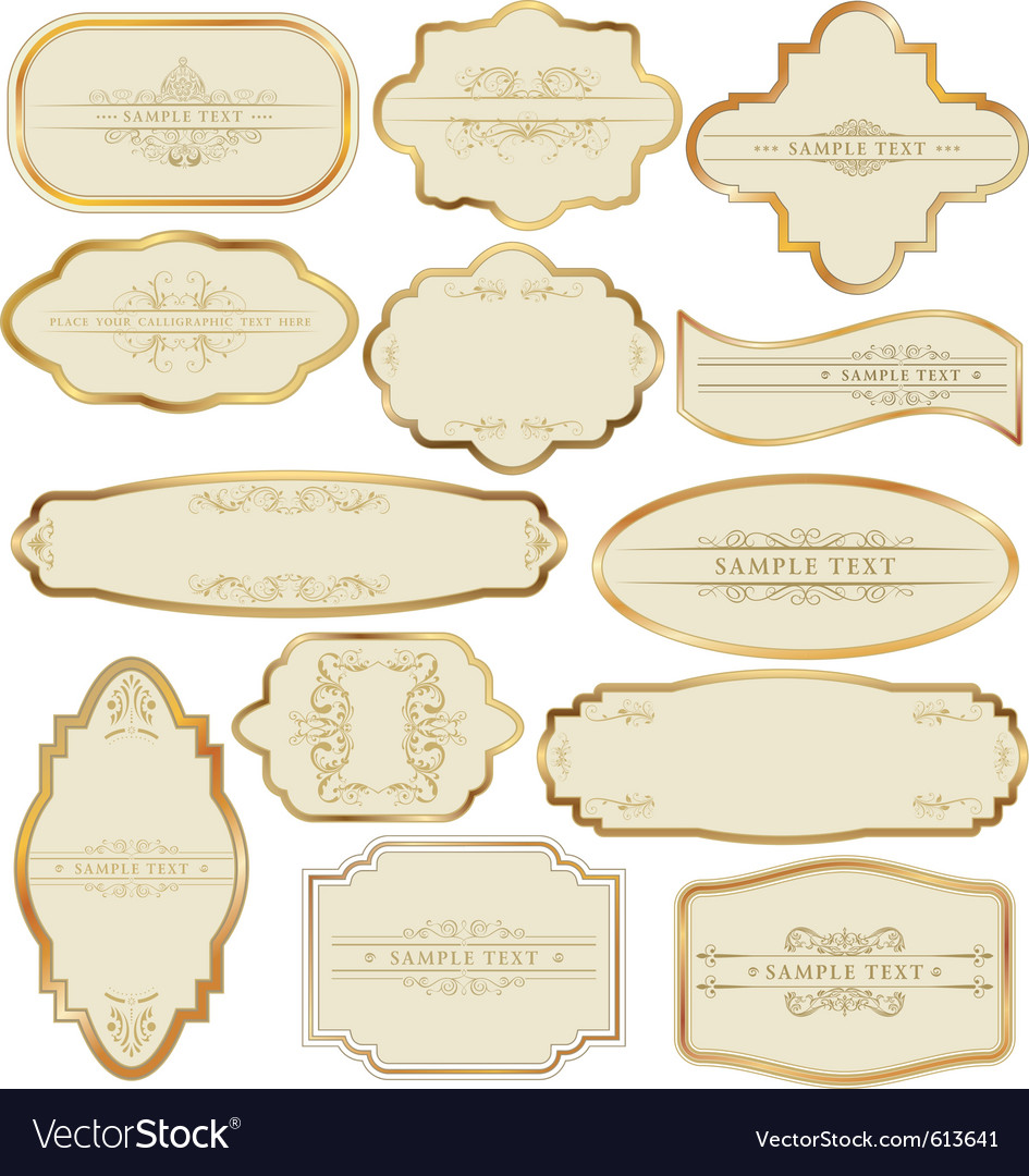 Golden labels vector | Price: 1 Credit (USD $1)