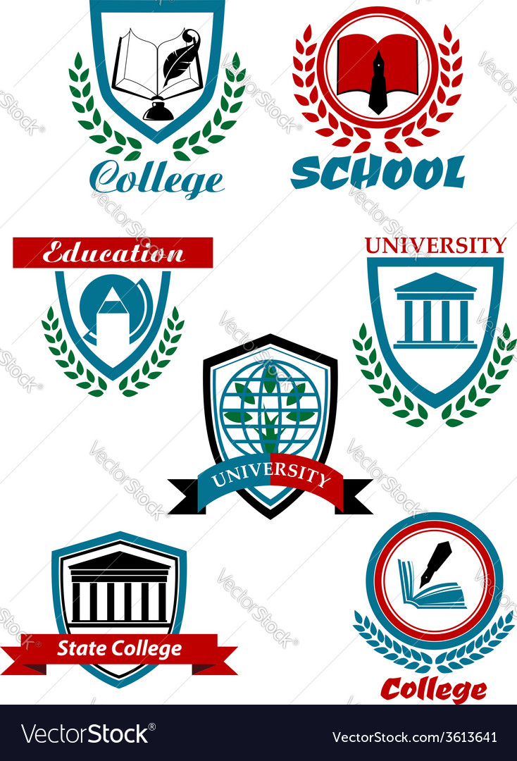 Heraldic emblems for school college university vector | Price: 1 Credit (USD $1)