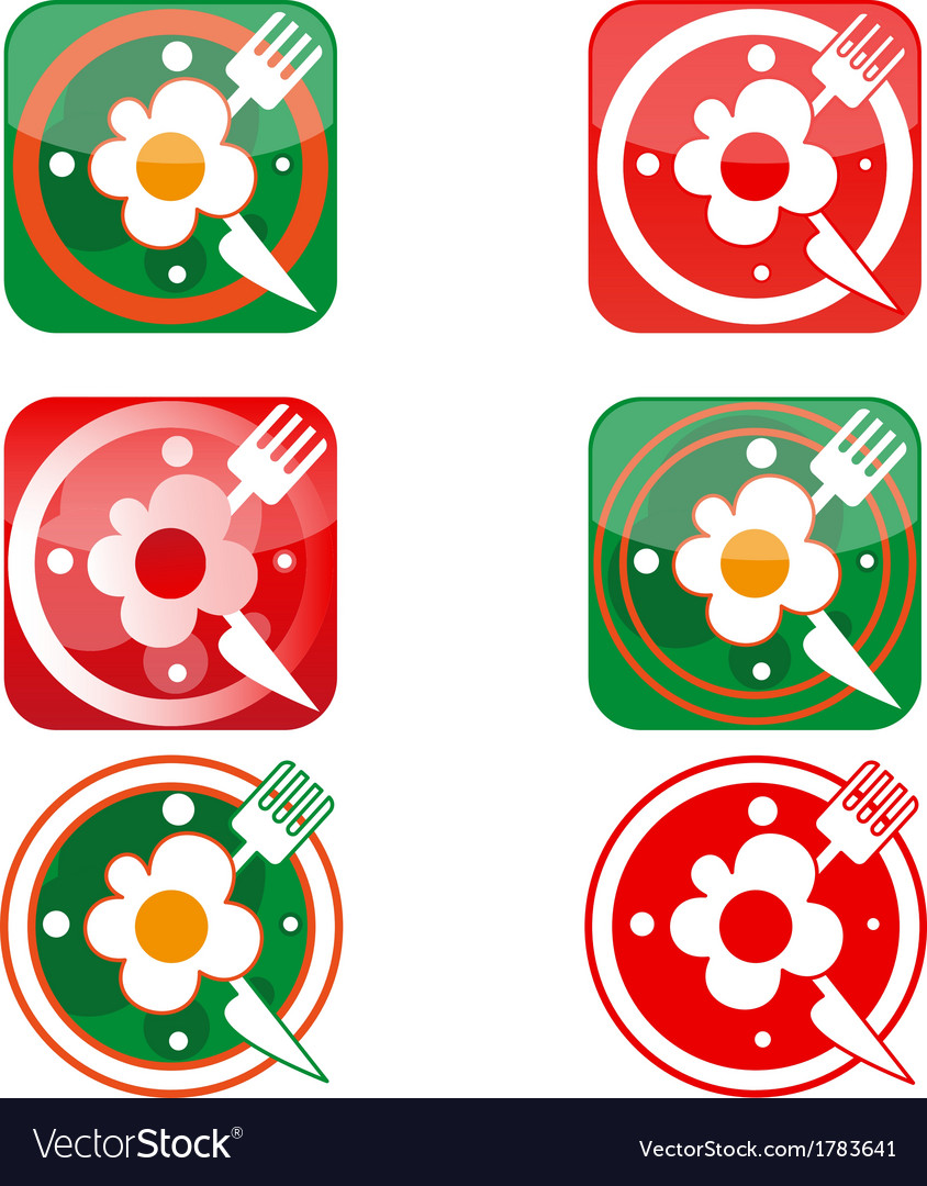Icons in the form of clock with scrambled eggs vector