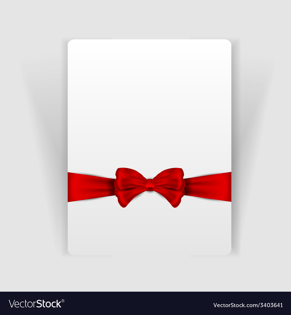 Nice red bow on the card vector | Price: 1 Credit (USD $1)