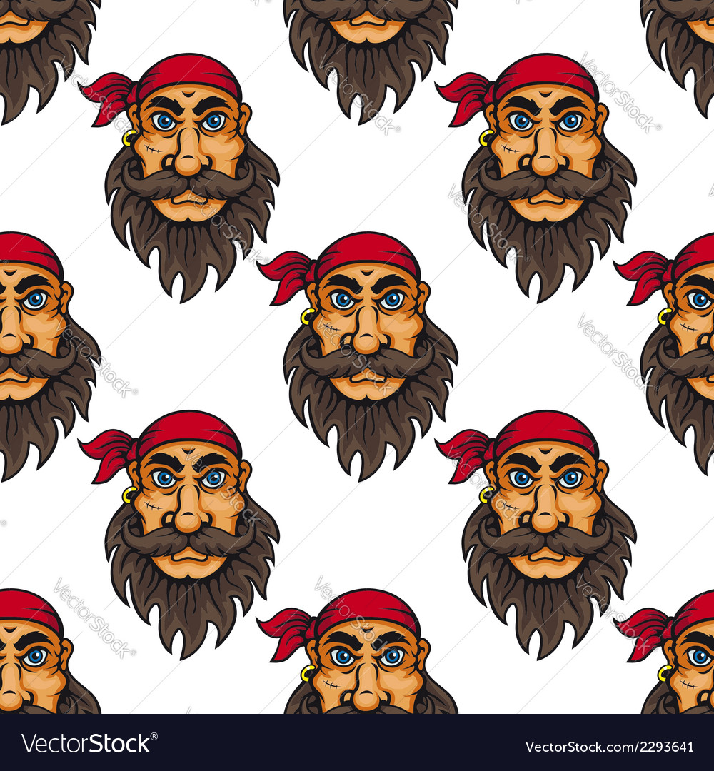 Seamless pattern of a bearded pirate or sailor vector | Price: 1 Credit (USD $1)